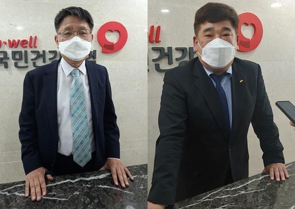 송재찬 병협 부회장(왼쪽)과 김성훈 치협 보험이사