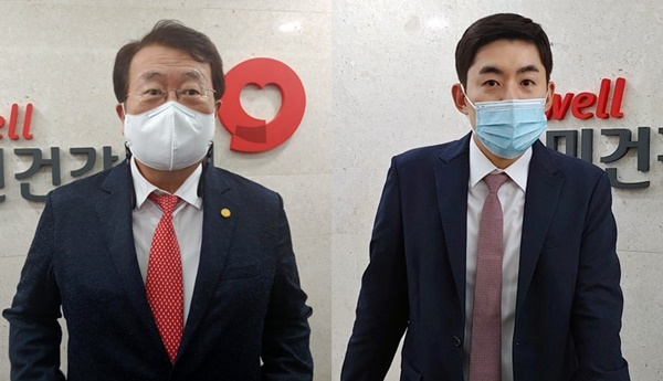 박인춘 약사회 부회장(왼쪽)과 이진호 한의협 부회장